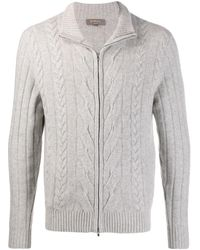 N.Peal Cashmere Zip Up Chunky-knit Sweater - Gray