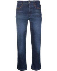 Chloé Logo-print High-waisted Cropped Jeans - Blue