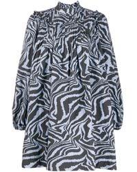 Ganni タイガープリント ドレス - ブルー
