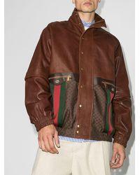 Gucci ウェブストライプ ジャケット - ブラウン