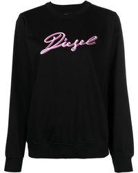 DIESEL F-ang-k15 ロゴ スウェットシャツ - ブラック