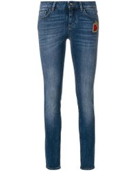 Dolce & Gabbana - Skinny Jeans With Sacred Heart Patch - Lyst