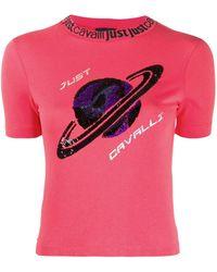 Just Cavalli スパンコール Tシャツ - ピンク