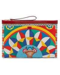 Dolce & Gabbana Porte-monnaie zippé à imprimé graphique - Rouge
