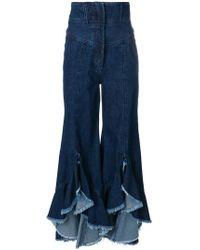 Sara Battaglia - Ruffle Hem Flared Jeans - Lyst