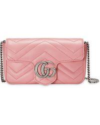 Gucci グッチ〔GGマーモント〕スモール ショルダーバッグ - ピンク