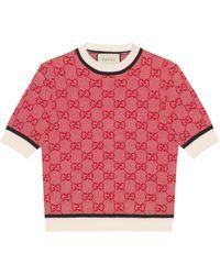 Gucci Haut en maille GG - Rouge