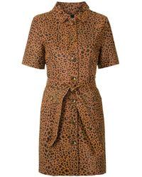 EVA Onça Leather Dress - Brown