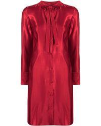 HUGO Long-sleeved Tie-neck Dress - Red