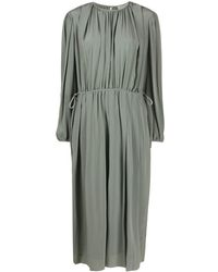 Lemaire Pleated Detail Silk Dress - Green