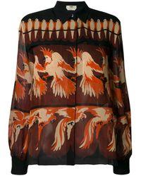 Fendi Hemd mit Papagei-Print - Orange