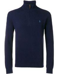 Polo Ralph Lauren Sweater Met Halve Ritssluiting - Blauw