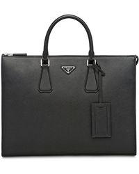 56df04495fc8 Prada Saffiano Clutch Bag in Black for Men - Lyst