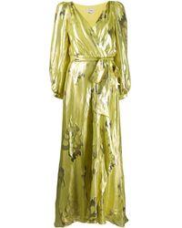 Temperley London Eda Metallic Print Silk-blend Dress - Yellow