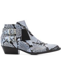 Pollini Snakeskin Ankle Boots - Blue