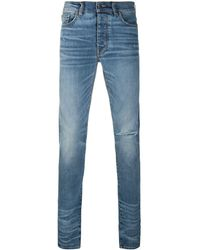 Amiri Ripped Mid-rise Skinny Jeans - Blue