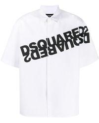 DSquared² Hemd mit gespiegeltem Logo-Print - Weiß