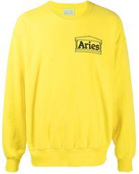 Aries Temple ロゴ スウェットシャツ - イエロー
