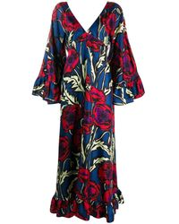 La DoubleJ Tangier Floral-print Silk Caftan - Blue