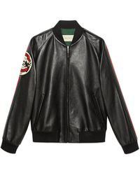 Gucci Leather Bomber Jacket With Patch - Zwart