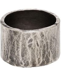 M. Cohen Sterling Silver Medium Carved Tube Ring - Metallic