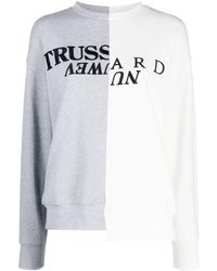 Trussardi Asymmetric Logo-embroidered Sweatshirt - Grey