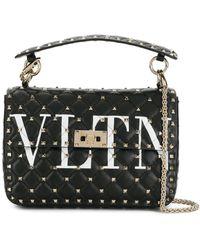 Valentino Vltn Rockstud Spike Leather Shoulder Bag - Black