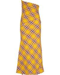 Miu Miu Check-pattern Maxi Skirt - Yellow