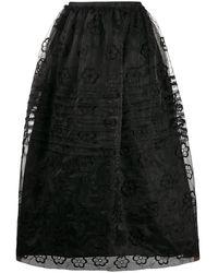 Simone Rocha フローラル スカート - ブラック