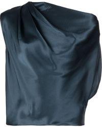 Michelle Mason Asymmetric Drape Silk Blouse - Blue
