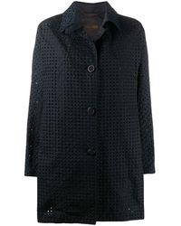 Moorer Perforated Brenda Coat - Blue