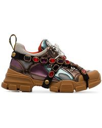 Gucci - Multicoloured Metallic Flashtrek Removable Crystal Trainers - Lyst