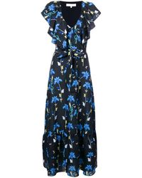 Borgo De Nor Butterfly Print Ruffle Trim Dress - ブルー
