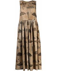 Uma Wang Robe longue à imprimé graphique - Marron