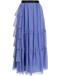 Undercover High-waisted Tiered Skirt - Blue