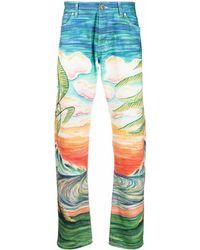 CASABLANCA Beach-print Straight-leg Trousers - Black