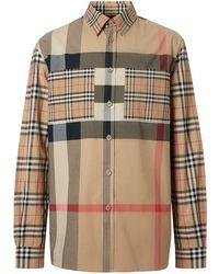 Burberry - Рубашка Оверсайз Со Вставками В Клетку - Lyst