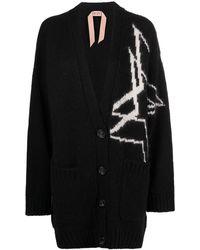 N°21 Intarsia-knit Cardigan - Black