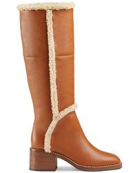 Gucci Shearling-trim Knee Boots - Brown