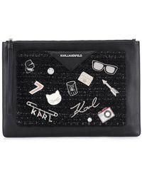Karl Lagerfeld 'K/Klassik' Clutch mit Pins - Schwarz
