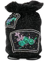 Ganni Beaded Drawstring Mini Bag - Black