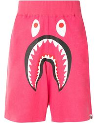 A Bathing Ape Shark Wide Track Shorts - Pink
