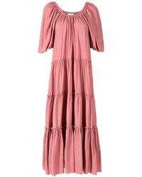 Olympiah Cape Long Dress - Pink
