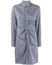 Karl Lagerfeld ストライプ&ドット シャツドレス - ブルー