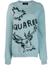 DSquared² - ブルー ロゴ レインディア セーター - Lyst