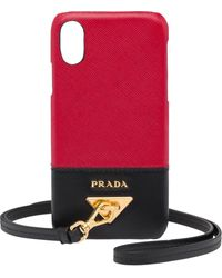Prada Wrist-strap Iphone X/xs Case - Red