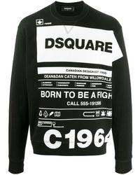 DSquared² Trui Met All-over Logoprint - Zwart