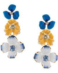Kenneth Jay Lane Pendientes con flor esmaltada - Azul