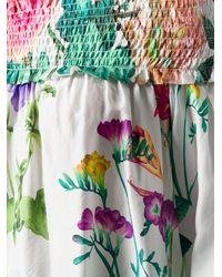 P.A.R.O.S.H. Floral Print Off The Shoulder Blouse - Белый