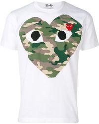COMME DES GARÇONS PLAY - T-Shirt mit Herz-Print - Lyst